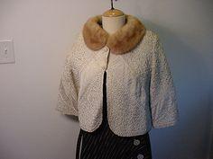 Vintage Jack Kobren Ecru Ribbon Work Jacket With Mink Collar