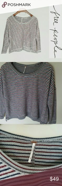 Free People loose fit sweater! Xs In perfect condition! Gorgeous free people loose fit sweater, size xs. Gray/navy/deep red stripes.   Bundle using the bundle feature and save! Free People Sweaters