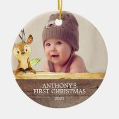 Cute Deer Baby's 1St Photo Christmas Ornament - tap, personalize, buy right now! #woodland, #forest, #photo, #christmas, #personalized,