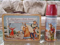 "Roy Rogers and Dale Evans ""Double R Bar Ranch"" Vintage Lunchbox and Thermos"