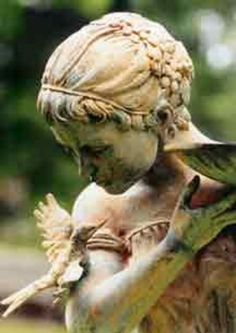 "The Rust & Weathering,makes this statue so much more acceptable for the garden & dilutes any ""Twee"". Do not try to scrub clean any of the aged patina from statues or Garden urns like a sweet friend did for me when I was away. Cemetery Angels, Cemetery Statues, Cemetery Art, Dream Garden, Garden Art, Statue Ange, Whispering Angel, I Believe In Angels, Angels Among Us"