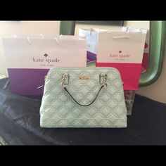 """Kate Spade - Grace Blue Astor Court Small Rachelle 100% Authentic.  Grace Blue quilted leather..  14-karat gold plated chain link and leather handles.  Adjustable and detachable long leather strap.  Top zip closure.  Interior is lined with soft blue logo fabric, one zip pocket and two open slip pockets.       Measurements:  14.5"""" L x 10.5"""" H x 5"""" D Kate Spade Bags Satchels"""