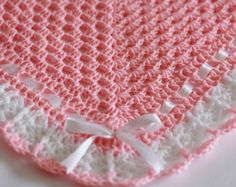 Crochet Baby Blanket Girl Afghan Cotton Candy by CatsSoftStitches
