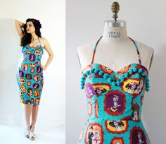 Pinup Dress Rockabilly Style Mexican Dia by OceanfrontBoutique