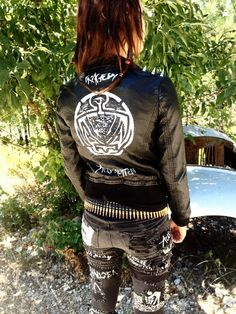 Antischism poly leather punk jacket by TheMangyMuttz on Etsy