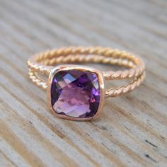 Rapunzel Ring In 14k Rose Gold and Grape Amethyst