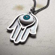 SALE-Hamsa-hand with eye necklace Turkish Eye, Silver Jewelry, Unique Jewelry, Compass Rose, Hand Of Fatima, Eye Necklace, Hamsa Hand, Jewerly, Bye Bye
