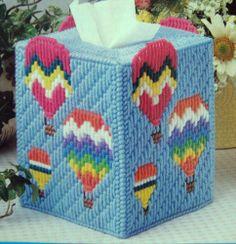 """''Up Away Tissue Box Cover"""" Plastic Canvas Pattern   eBay"""
