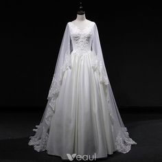 Vintage / Retro Ivory Wedding Dresses 2019 A-Line / Princess V-Neck Sleeveless Backless Appliques Lace Pearl Beading Watteau Train Ruffle Vintage / Retro Ivory Wedding Dresses 2019 A-Line / Princess V Elven Wedding Dress, Medieval Wedding, Elegant Wedding Dress, Cheap Wedding Dress, Dream Wedding Dresses, Bridal Dresses, Wedding Gowns, Ivory Wedding, Wedding Dress Cape