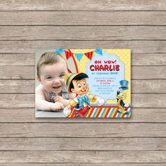 Pinocchio Birthday Invitations / Birthday Party card - Digital Printable File - Pinocchio jiminy cricket | Berrylicious