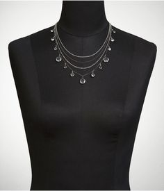 LAYERED CHAIN AND FACETED STONE NECKLACE | Express