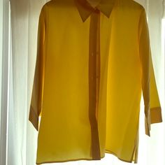 Liz Clairborne Yellow blouse  Clearance sale. Liz Clairborne yellow shirt - Rayon and Polyester (feels very soft). 3/4 length sleeves ✅ Price firm unless bundled ✅No trades Liz Claiborne Tops Blouses
