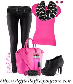 """""""Hot Pink, Black & White"""" by steffiestaffie on Polyvore"""