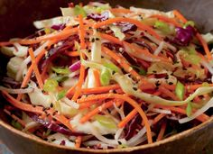 Miso-Spiked Asian Slaw Recipe Recipe with 14 ingredients Recommended by 2 users. Asian Slaw Salad, Jicama Slaw, Asian Coleslaw, Slaw Recipes, Pork Recipes, Super Easy Dinner, Cole Slaw, Easy Salads, Easy Dinner Recipes