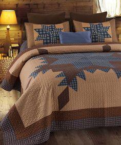 Loving this Brown Starlight Patchwork Queen Quilt Set on #zulily! #zulilyfinds