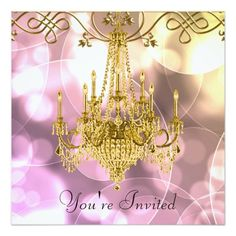 Pink Gold Chandelier All Occasion Party Custom Invite