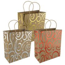 bulk large natural kraft paper gift bags with foil prints at hotel gift
