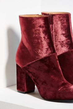 Pair of Cranberry Velvet Heeled Boots ....