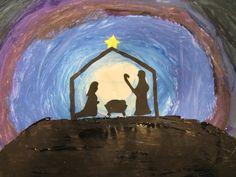 Op iedere tafel komt een groot vel te liggen met daarop vijf kleuren verf: wit, lichtblauw, donkerblauw, paars en zwart. In het midden komt een cirkel in wit. Steeds een beetje van de volgende kleur erbij, zodat de cirkel langzaam donkerder wordt en er een stralend wit licht in het midden ontstaat.  Als de verf droog is, wordt er een berg geschilderd en daarboven wordt een kerststal gepakt met Jozef, Maria en het kindje Jezus.