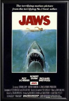 Framed Jaws 24x36 Poster in Basic Black Detail Wood Frame *** Click image to review more details.Note:It is affiliate link to Amazon.