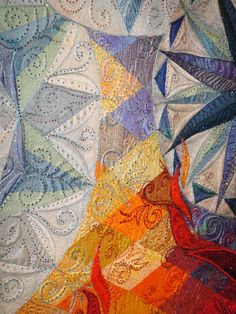 """close up, """"Fire and Ice"""" by Claudia Pfeil, 1st place and Viewer's Choice, 2011 Quilt Odyssey.  Photo by Karen Kay Buckley"""