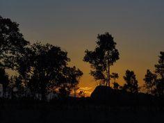 Sunset en el atardecer del llano de Venezuela. La sabana es un espectaculo de 24 horas.