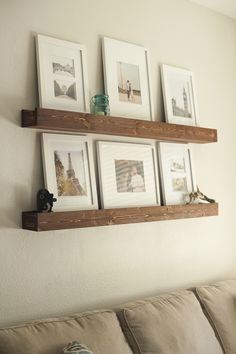 DIY Barn Beam Ledges - I like the look of these shelves