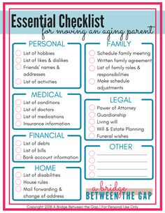 Essential Checklist for Moving an Aging Parent # aging Parenting How to Cope with Caregiving Resistance Family Roles, Dementia Activities, Elderly Activities, Craft Activities, Physical Activities, Dementia Care, Dementia Awareness, Funeral Planning, Moving Checklist