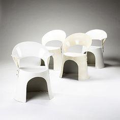 NANNA DITZEL    dining chairs, set of four    Denmark, 1960's  fiberglass  25.5 w x 20 d x 30.5 h inches