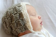 Basketweave Baby Bonnet  Knitting PATTERN  pdf format by lillebarn