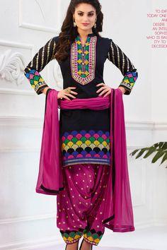 Black & Pink Banarasi Jacquard Patiala UnStitch Suit