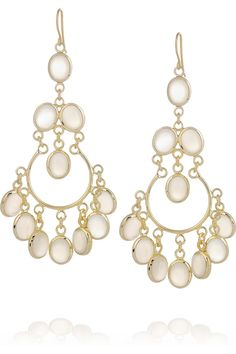 Short Gypsy Gold Plated Moonstone Drop Earrings By Isharya