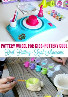 Pottery Wheel For Kids. Real Pottery Real Awesome. Read Our Review.  Check out our full review and experience using the Pottery Cool Pottery Wheel from Spin Master. This Pottery Wheel makes a great gift for kids of all ages interested in learning more about the art of pottery. Pottery wheel comes with instructions for creating different pottery projects that can be painted after drying. Learn more here. #PotteryCool from @spin_master ad
