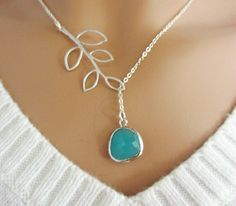 Aqua Blue and Branch Lariat Necklace Branch by LadyKJewelry, $25.00