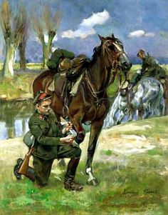 Russian Painting, Horse Art, Military History, Art History, Equestrian, War Horses, Room Art, Soldiers, Artworks