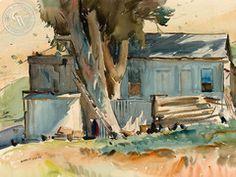 Maurice Logan - The Chicken House, c. 1930, California art, original California watercolor art for sale, fine art print for sale, giclee watercolor print - CaliforniaWatercolor.com