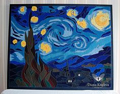 Vincent van Gogh/ The Starry Night. String art pattern. #stringart #vangogh #starrynight