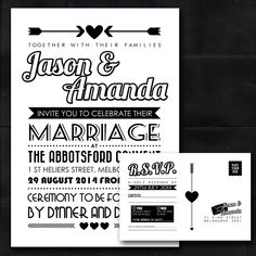 Wedding Invitation and RSVP Postcard, wedding stationary, DIY Printable file, Modern, Black and White by CreativeWonderAu on Etsy https://www.etsy.com/listing/232955623/wedding-invitation-and-rsvp-postcard