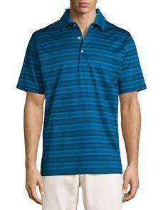 Hurricane Striped Cotton Lisle Polo Shirt, Blue/Black, Hawaiian Blue - Peter Millar