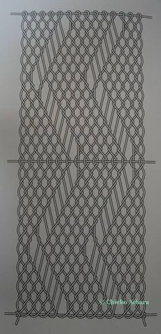 Structural diagram of making a zig-zag line by interlinked sprang, Chieko Aihara