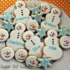 Sugar Dot Cookies: personalised snowmen & snowflakes