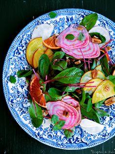 bunter Bete - Baby Mangold - Salat mit halbgetrockneten Blutorangen   Confiture de Vivre