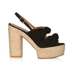 Castañer Abbey canvas platform sandals ($73) ❤ liked on Polyvore featuring shoes, sandals, black, black canvas shoes, black chunky sandals, black espadrilles, black braided sandals and woven sandals
