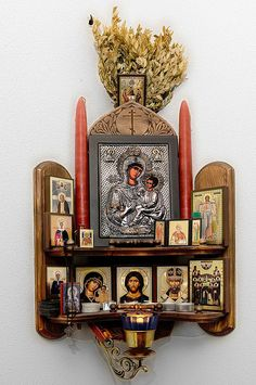 "Home altar.the Matchmaker leads couples to an altar devoted to knitting to ""stitch"" them together for life Religious Icons, Religious Art, Religion, Catholic Altar, Catholic Relics, Pagan Altar, Prayer Corner, Arte Popular, Orthodox Icons"