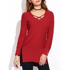 High-Low Loose Slit Sweater, WINE RED, XL in Sweaters & Cardigans | DressLily.com