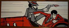 Lupin III and Jigen canvas 30x80 cm handpainted