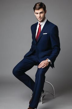 Blue wool suit, €1060, Canali, white shirt, €125, Smyth & Gibson, Red tie…