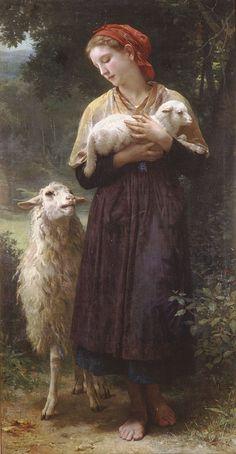L'agneau nouveauné by William Adolphe Bouguereau (William Bouguereau) (The Newborn Lamb), Oil on canvas