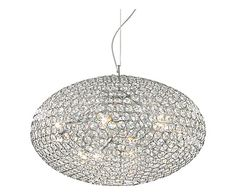 Hanglamp Riccardo, zilver/kristal, Ø 60 cm