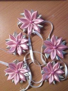 Лента для вплетения в косу с цветами Канзаши